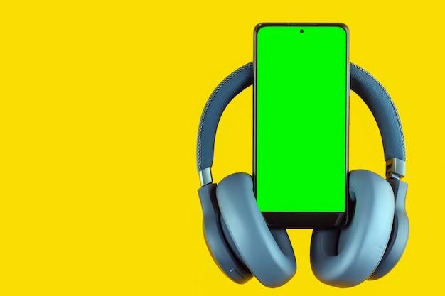 Smartphone met draadloze koptelefoon op gekleurde achtergrond, concept van blanco voor ontwerp of mockup