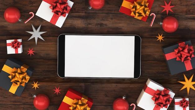 Smartphone met kerst ornament