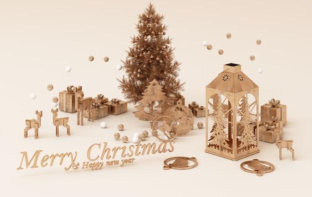 Smartphone met kerstversiering. kerst sjabloon in gouden concept. 3d-rendering