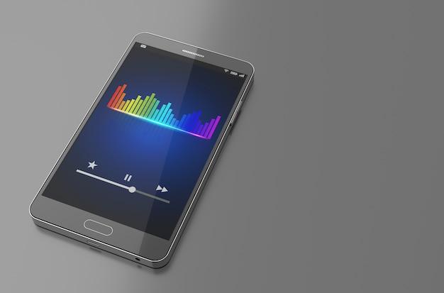 Smartphone met muziek-equalizerbalk op scherm.