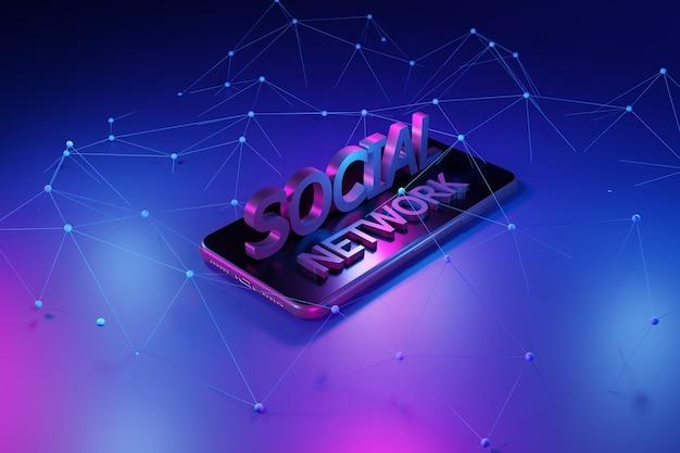 Smartphone met netwerk. sociaal netwerkconcept, het 3d teruggeven