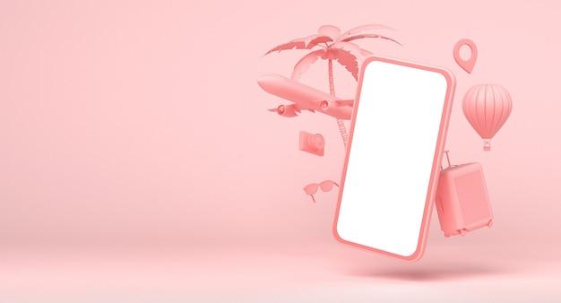 Smartphone met reisobjecten: vliegtuig, luchtballon, palmboom, zonnebril, camera en tas op roze achtergrond. 3d-rendering