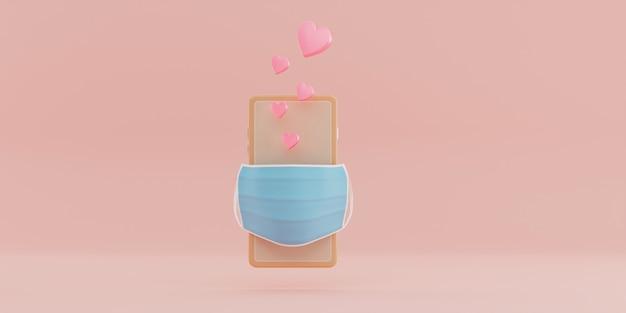 Smartphone met roze hart en gezichtsmasker.