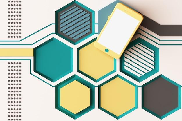 Smartphone met technologieconcept, abstracte samenstelling van geometrische vormenplatforms in gele en groene kleur. 3d-weergave