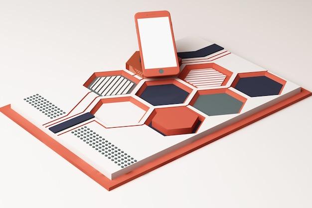 Smartphone met technologieconcept, abstracte samenstelling van geometrische vormenplatforms in oranje en blauwe kleur. 3d-weergave