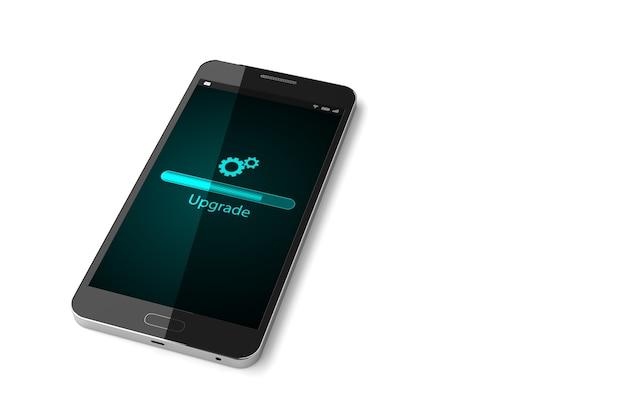Smartphone met upgrade-scherm op display.
