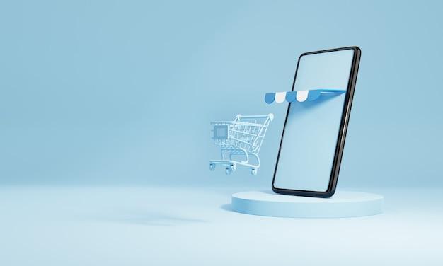 Smartphone met winkelwagen en leeg leeg scherm op blauwe podiumachtergrond. online winkelen levering zakelijke e-commerce winkel en social media applicatie concept. 3d illustratie weergave