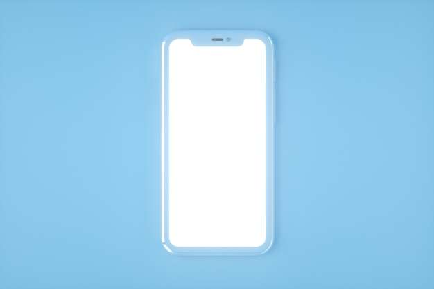 Smartphone-mockup, 3d render. mobiele telefoon leeg, wit scherm. blauwe kleur
