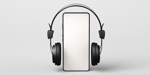 Smartphone mockup met koptelefoon 3d illustratie