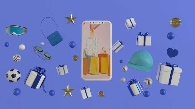 Smartphone om inhoud in te voeren omringd door boodschappentassen, winkelwagentjes