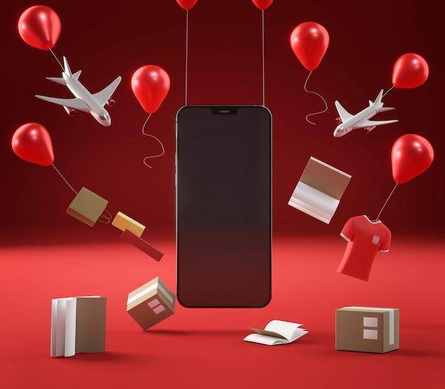 Smartphone-pictogram voor speciale verkoop op zwarte vrijdag
