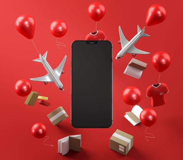 Smartphone-pictogram voor winkelen op zwarte vrijdag