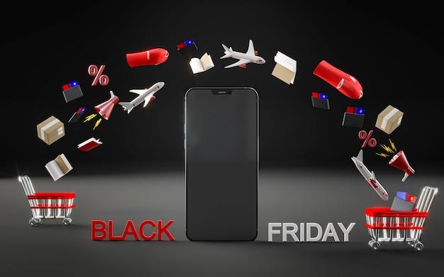 Smartphone-pictogram voor zwarte vrijdag