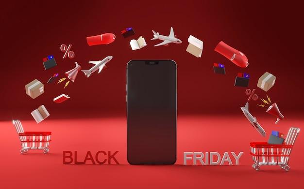 Smartphone-pictogram voor zwarte vrijdagevenement