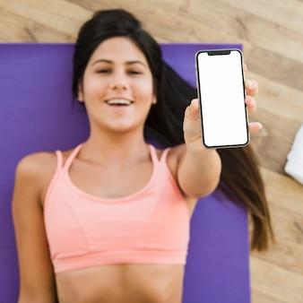 Smartphone sjabloon met yoga concept