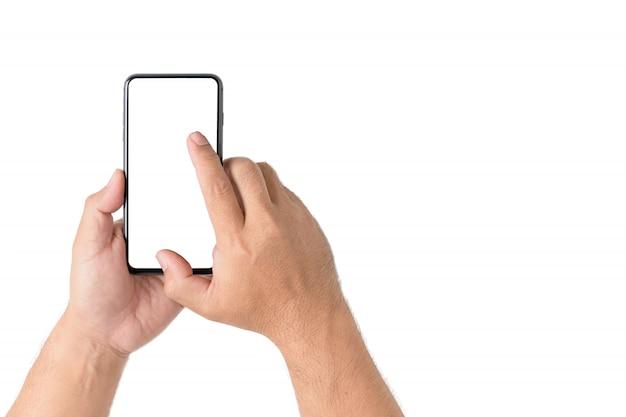 Smartphone van de mensenholding met het lege scherm
