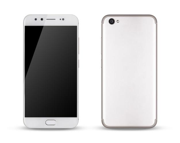 Smartphone, voor- en achterkant van moderne touchscreen smartphone geïsoleerd op witte ruimte.