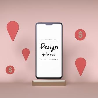 Smartphone wit scherm witte munt en check-in pictogram achtergrond 3d-rendering