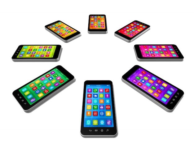 Smartphones kleuren ingesteld