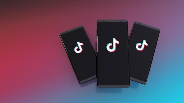 Smartphones met tik tok-logo op het scherm