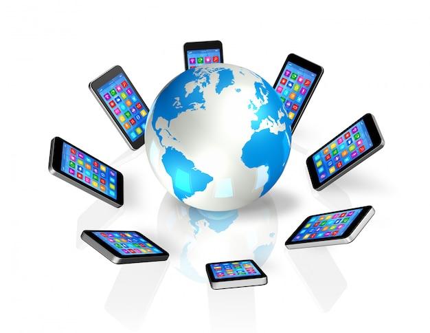 Smartphones over de hele wereld, wereldwijde communicatie