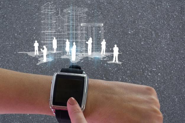 Smartwatch met mensen pictogrammen over de hele wereld