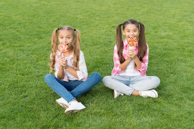 Smelt in je mond dessert. gelukkige kinderen eten snoepdessert op stokjes. kleine meisjes zitten op groen gras. genieten van zoet dessert. snoepwinkel. suikerwerk. zomervakantie. toetjes tijd.