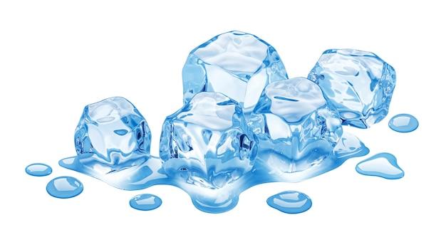 Smeltende ijsblokjes geïsoleerd op witte achtergrond