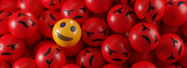 Smile emoji between a bunch of angry emoticons banner