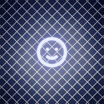 Smile emoticon teken neon effect renderen