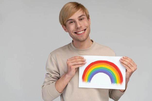 Smiley homoseksuele man met lgbt-symbool