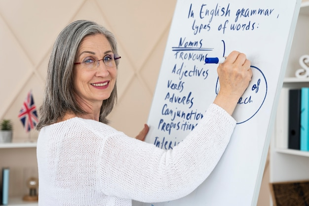 Smiley vrouwelijke engelse leraar die online lessen doet