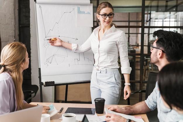 Smiley zakenvrouw met bril tijdens een vergaderpresentatie