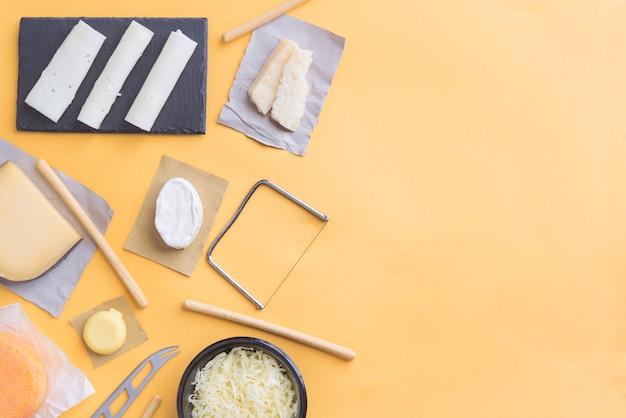 Snack van assortiment kwaliteit kaas bovenaanzicht