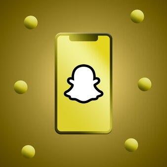 Snapchat-logo op het telefoonscherm 3d render