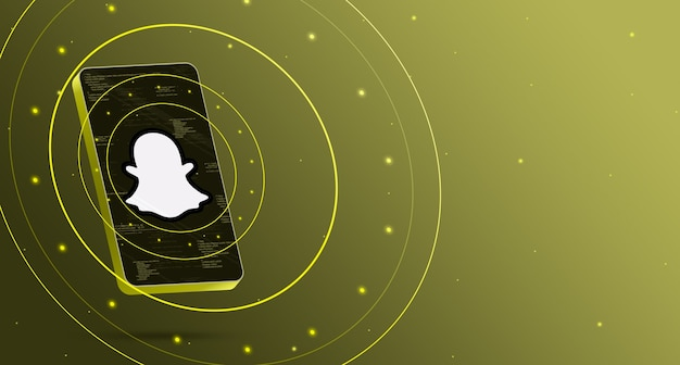 Snapchat-logo op telefoon met technologische weergave, slimme 3d render