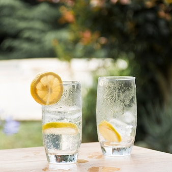 Sneetjes fruit op een bril met koud drankje en ijs
