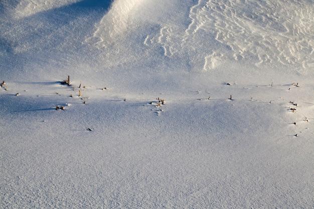 Sneeuw die viel tijdens een sneeuwval en droog gras