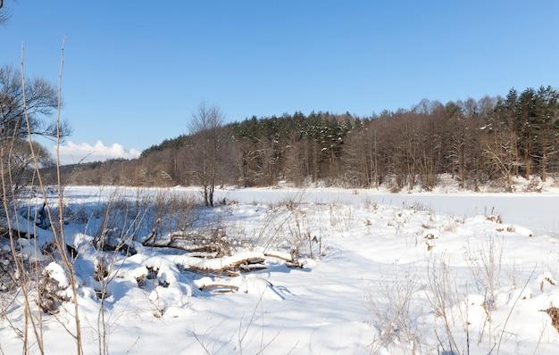 Sneeuw en ijs bedekt gras