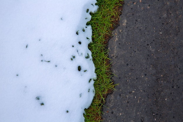 Sneeuw in weg met grasgraslijn