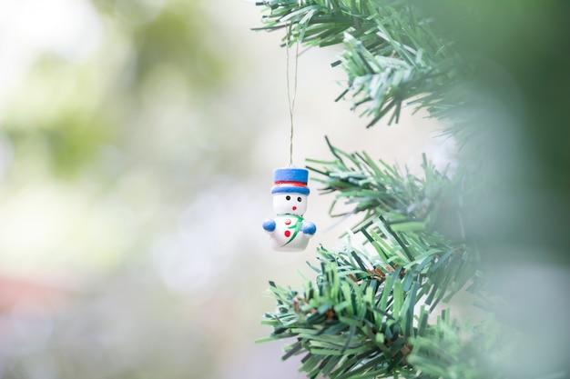 Sneeuw man dall voor kerstdecoratie achtergrond