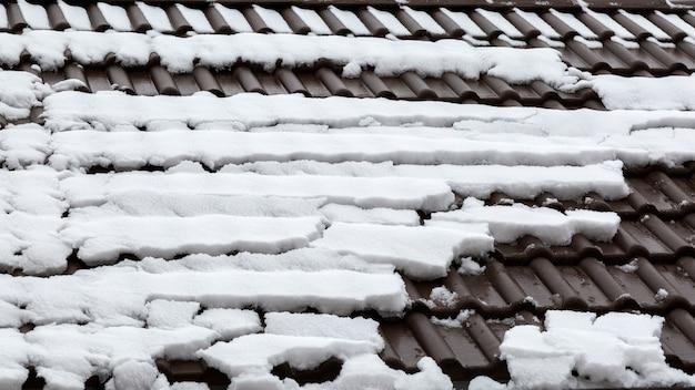 Sneeuw ontdooit op de dakpannen.