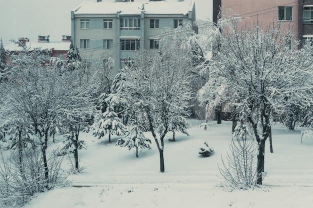 Sneeuwbedekking in de woonwijk