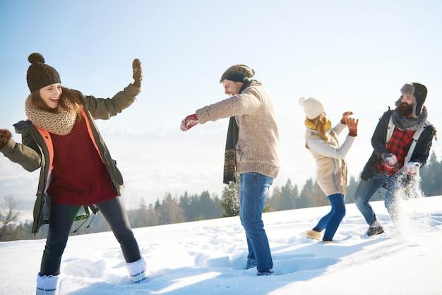 Sneeuwgevecht in de zonnige winterdag