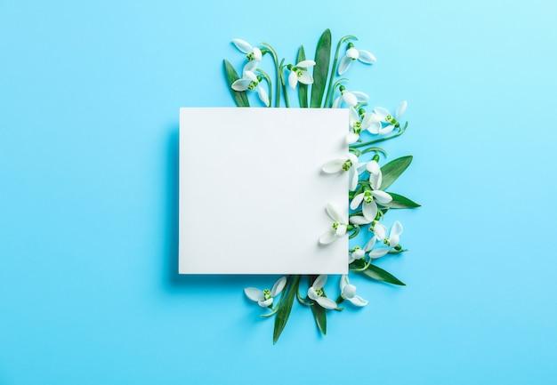 Sneeuwklokjebloemen en wit vierkant op kleurenachtergrond, ruimte voor tekst