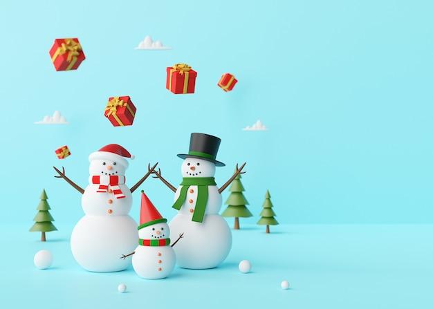 Sneeuwman die met kerstmisgiften genieten van op een blauwe achtergrond, het 3d teruggeven