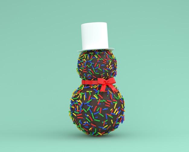 Sneeuwman die van chocoladeconcept wordt gemaakt op achtergrond van de pastelkleur de groene kleur.