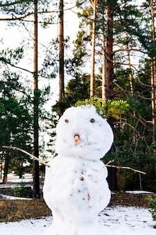 Sneeuwman en dennenbos op de achtergrond