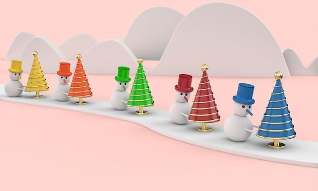 Sneeuwmannen met kerstbomen