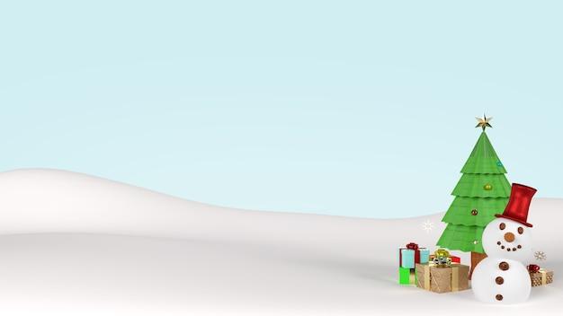 Sneeuwpop en kerstboom 3d-rendering
